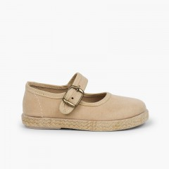 Sapatos Merceditas Fivela Bamara e Juta Bege