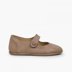 Sapatos Merceditas Menina Pele tiras aderentes   Botão Cinzento-acastanhado