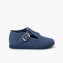 Sapato Pepito Tela com Fivela Azul