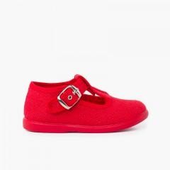 Sapatos Pepito Linho com Fivela Vermelho