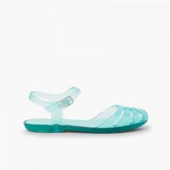 Sandálias de Borracha Menina Mara Mini Água-marinha