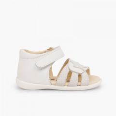 Sandálias Napa Estrela Primeiros Passos tiras aderentes   Branco