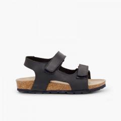 Sandálias Pele Bio Menino Duplo tiras aderentes   Azul-marinho