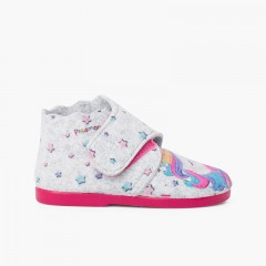 Pantufa bota feltro tira aderente Unicornio Multicolor