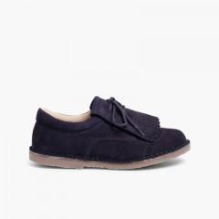 Sapatos de Carneira com Franjas Azul-marinho