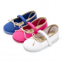 Sapatos de Tela Velcro Fino com Laço