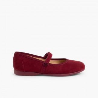 Sapatos Merceditas tipo Camurça com tiras aderentes   Bordeaux