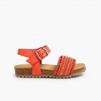 Sandálias BIO Pele e Tira Tecido Salmão