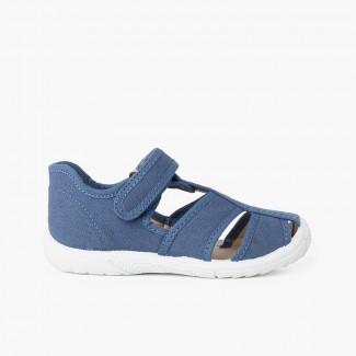 Sandálias Pepito tiras aderentes   Menino Biqueira Reforçada Azul Jeans