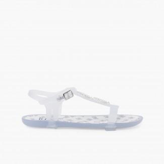 Sandália de Borracha Tricia Tira Brilhos Branco