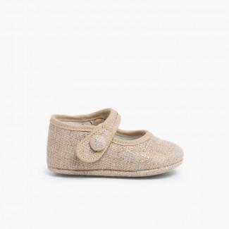 Sapatos Merceditas Bebé Linho tiras aderentes   Tostado