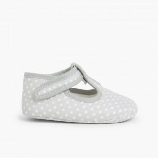 Sapatos Pepito tiras aderentes   Bolinhas Cinzento