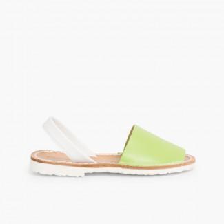 Sandálias Menorquinas Napa Bicolor Edição Especial Sola Branca Verde Pistácio