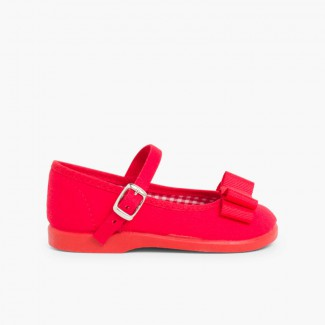 Sapatos Merceditas Lona Laço Duplo Vermelho