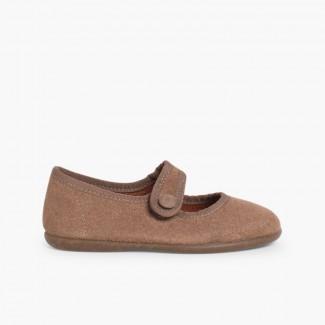 Sapatos Merceditas Camurça tiras aderentes   para Meninas Cinzento-acastanhado