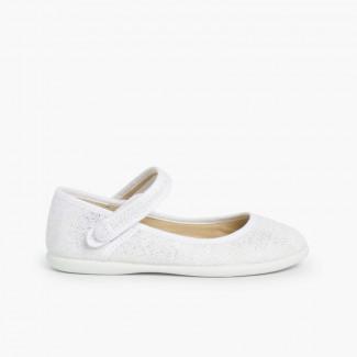 Sapatos Merceditas tiras aderentes   em linho metalizado Branco