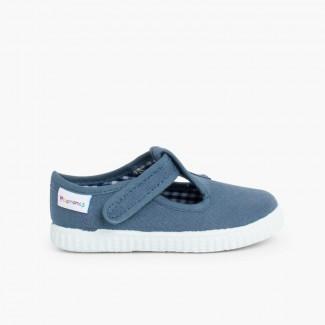 Sapato Pepito com tiras aderentes   sola ténis Azul Jeans