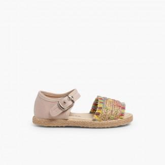 Sandálias Franjas tipo Alpargata Multicolor