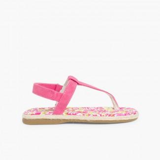 Sandálias de Dedo Lona tiras aderentes   para Meninas Fúcsia