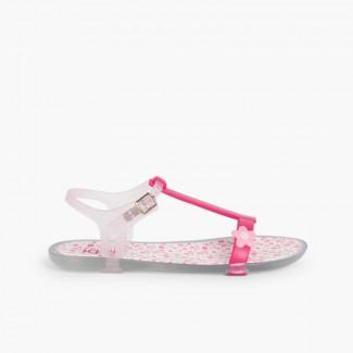 Sandálias de borracha Tricia Flores Fúcsia