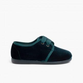 Sapatos de Veludo Atacadores Gorgorão Verde