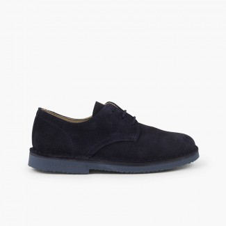 Bluchers Camurça Lisos Sapatos de Festa Menino Azul-marinho
