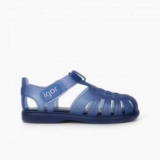 Sandálias de Borracha com tiras aderentes   Tobby Azul-marinho