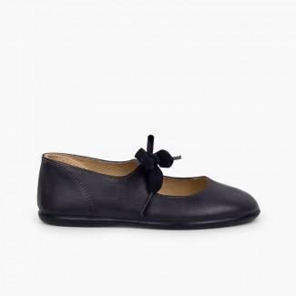 Sapatos Merceditas Pele Fecho Laço Azul-marinho