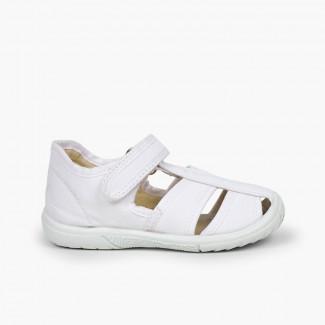 Sandálias Pepito tiras aderentes   Menino Biqueira Reforçada Branco