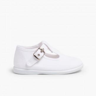 Sapato Pepito Tela com Fivela Branco