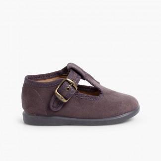 Sapato Pepito tipo Camurça  Cinzento