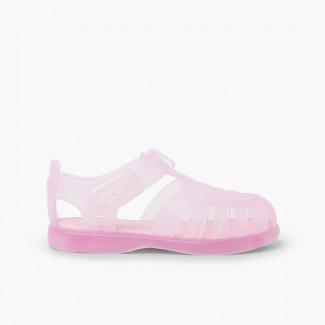 Sandálias de Borracha com tiras aderentes   Tobby Rosa