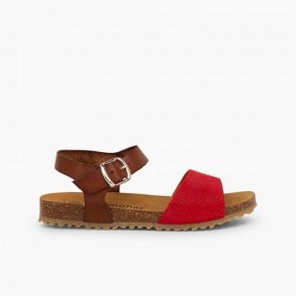 Sandálias Bio Couro e Camurça Gravada Menina Vermelho