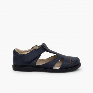 Sandálias Menino Pele tiras aderentes   tipo Pepitos Azul-marinho