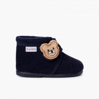 Pantufas Botinha Bombazine Urso Crianças Azul-marinho
