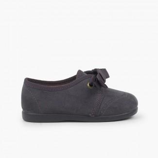 Sapatos Criança tipo Blucher com Laço e Picotados Cinzento
