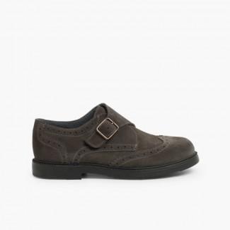 Sapatos Blucher Camurça Fivela  Cinzento