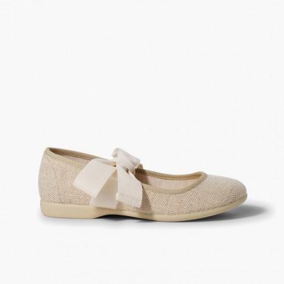 Sapatos Merceditas Linho com Laço Cru Linho