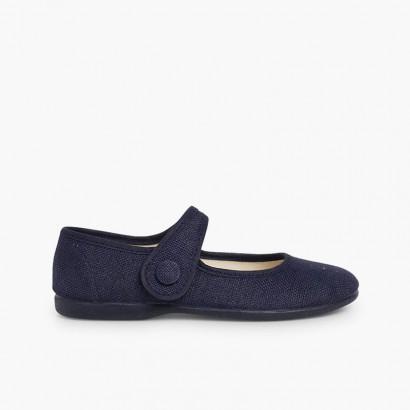 Sapatos Merceditas Linho tiras aderentes   Botão Azul-marinho