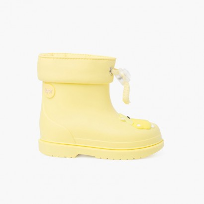 Galochas Crianças Pequenas Hipopótamo Amarelo Pastel