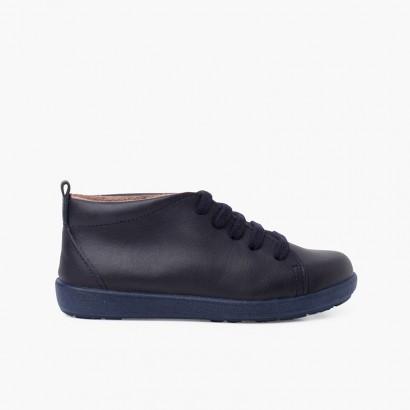 Sapatos Pele tipo Botins de Atacadores Azul-marinho