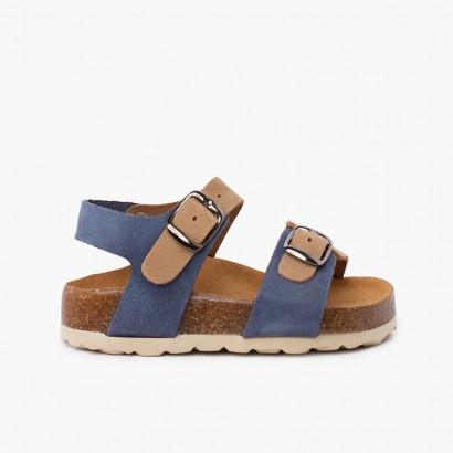 Sandálias bio crianças bicolor dupla fivela Azul Jeans e Bege