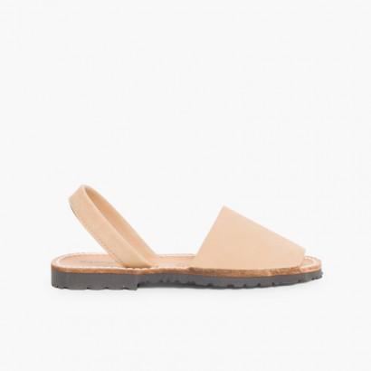 Sandálias Menorquinas Nobuck Bege
