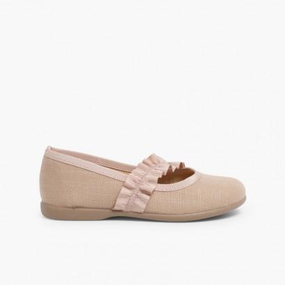 Sapatos Merceditas com Tira Elástica Larga Tostado