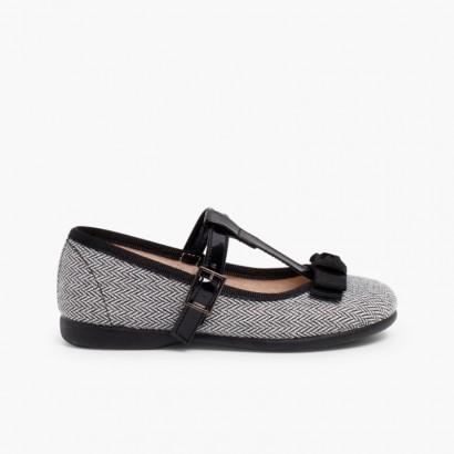 Sapatos Merceditas Espiga com Laço Preto