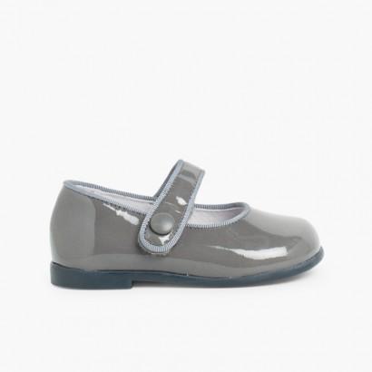 Sapatos Merceditas Verniz Menina com tiras aderentes   Cinzento
