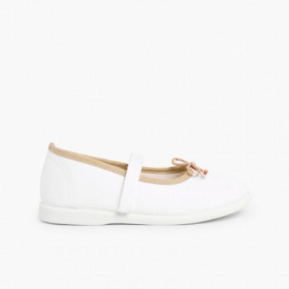 Sapatos de Tela Tira Aderente Fina com Laço Branco