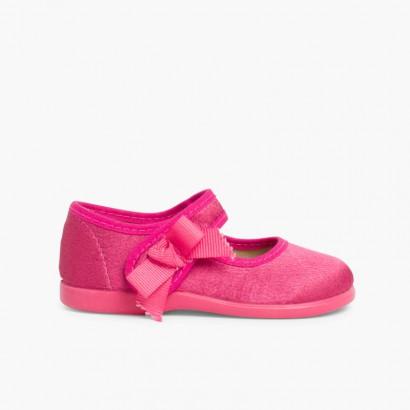 Sapatos Merceditas Menina de Cetim com tiras aderentes   Rosa