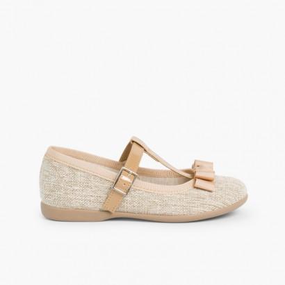 Sapatos Merceditas Menina tira com laço Linho