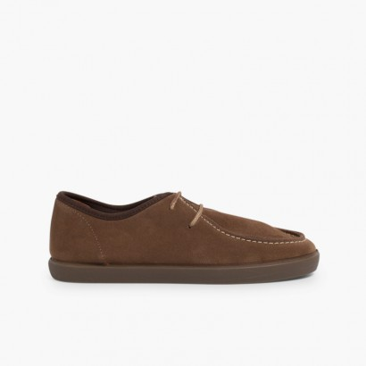 Sapatos de Vela de Camurça Crianças e Adultos Cinzento-acastanhado